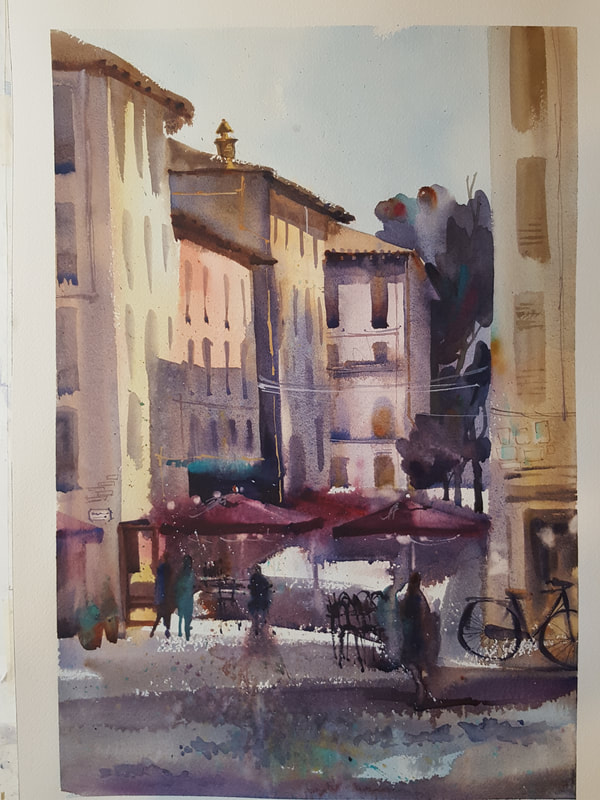 Amanda Brett Watercolour Artist, Via Vittorio Veneto Lucca Italy en plein air SOLD