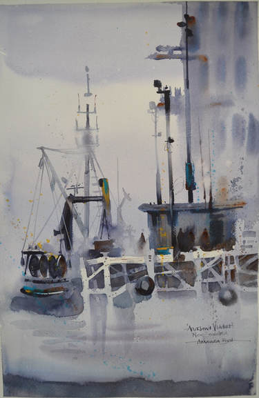 Amanda Brett Watercolour Artist, Auckland Viaduct studio greys