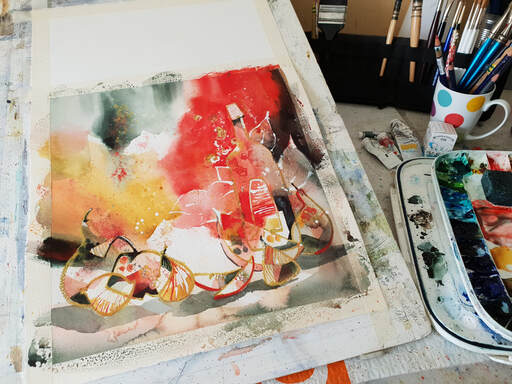 Amanda Brett Watercolour Artist abstract still-life 3030 WIP
